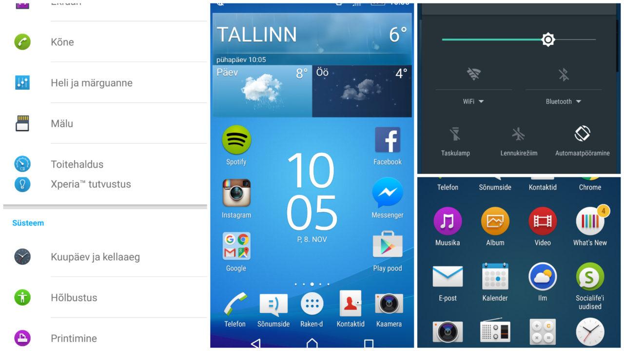 Sony Xperia Z5 tarkvara tehnikapilkee