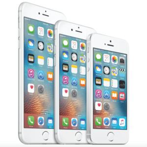 Vasakul iPhone 6S, keskel iPhone 6 ja paremal SE