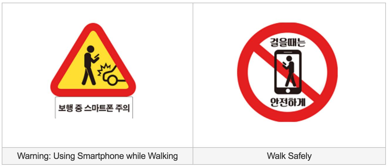 Lõuna-Korea uued liiklusmärgid telefonisõltlastele