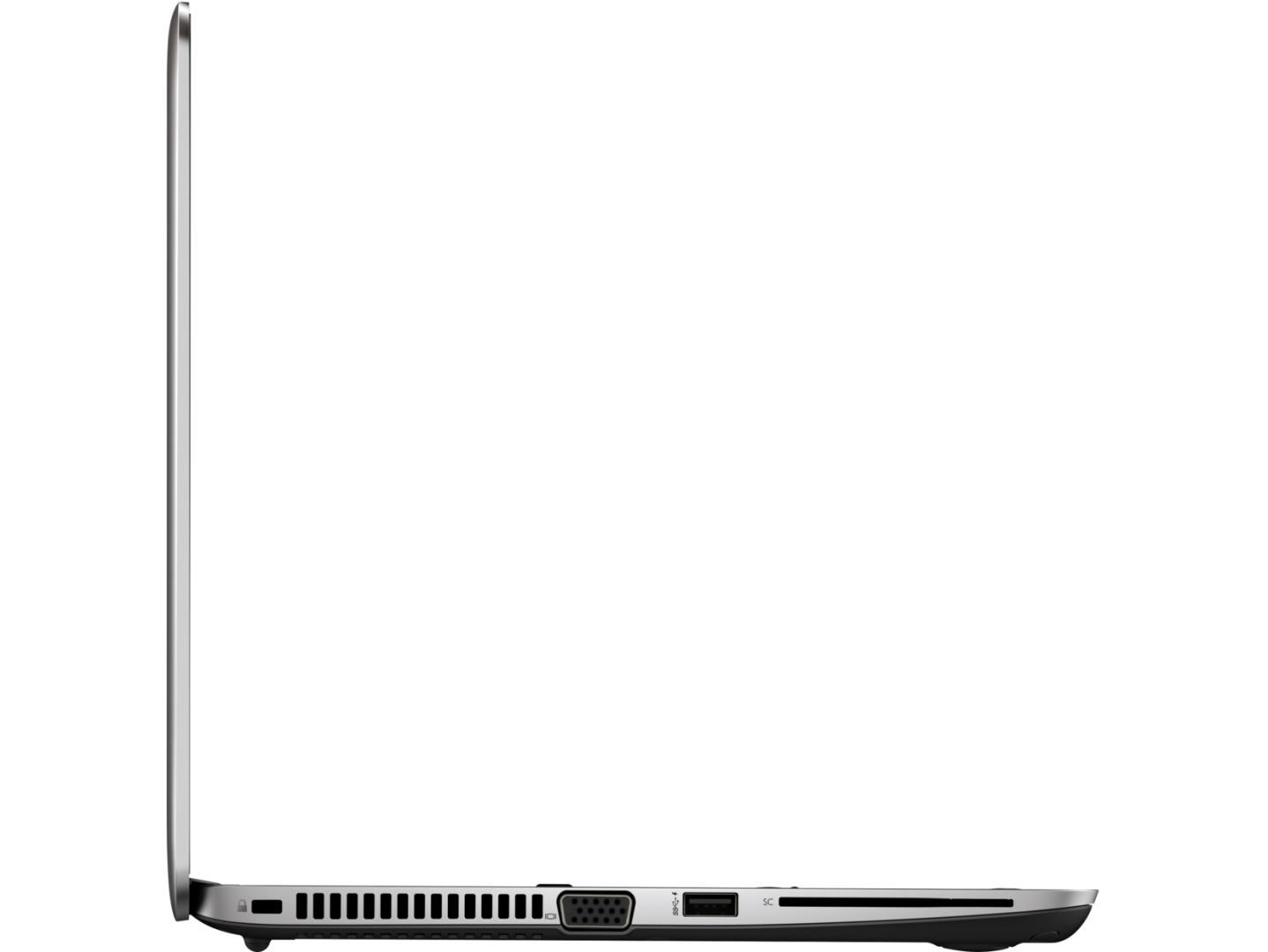 Vasakult küljelt leiab Kensingtoni luku pesa, VGA, USB 3.0 ja ID-kaardi lugeja